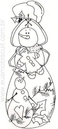 Snowman Embroidery pattern, part 1