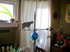 Victorian Lightning Rod with Cow Weathervane by RedRiverAntiques Lightning Rod, Electrical Supplies, Glass Ball, Gold Paint, Wrought Iron, Cow, Victorian, Turquoise, Display