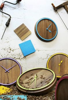 wall clock in walnut / wood / timber with color accents - made in Germany - from otono-design via www.qiphome.com