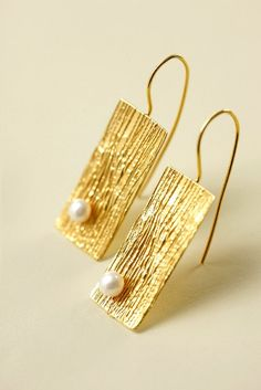 Silver gold plated rectangular earrings with fresh by Giousouri, $60.00