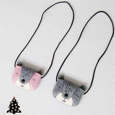 JC KIDS Gray & Pink Girls Bear Coin Purse Handmade Baby Small Bag Kids Messenger Bag Cute Small Bag