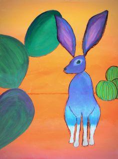 Contemporary Southwestern Art 'Desert Jackrabbit' by Karyn Robinson  http://karyn-robinson.artistwebsites.com/featured/desert-jackrabbit-karyn-robinson.html  #desertanimals #southwesternart #artforkids