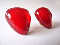 Large Dominique DENAIVE earring.Red resin by OhInTheShop on Etsy