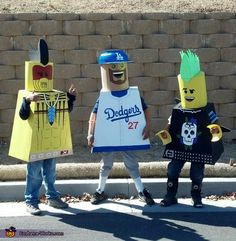 I entered our boys in a contest for Home-made costumes. Tomahawk Warrior is Thomas, Matt Kemp is Brian, & Punk Rocker is Jacob.Lego Guys - 2013 Halloween Costume Contest via @Costume Works