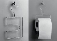 Wire Hanger re-bent for a toilet paper roll holder. Great for camping!