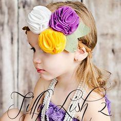 STUNNING Oversized flower headband with ball fringe band Vintage style        Price: $8.99