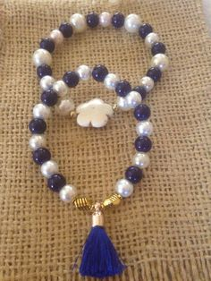 Bracelet Crystal Stones Navy Blue and White Home Made By Aixa