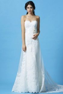 lace overlay strapless scalloped sweetheart a line wedding dress flower sash