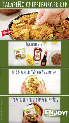 Serve up a jalapeño cheeseburger taste sensation at your next party with this tasty dip. Appetizers For Party, Appetizer Recipes, Do It Yourself Food, Tasty, Yummy Food, Football Food, Game Day Food, Love Food, The Best