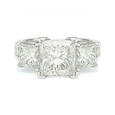 4.51 G SI2 PRINCESS CUT DIAMOND 3 STONE ENGAGEMENT RING http://www.larryfinejewelry.com/