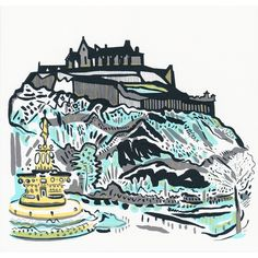 Castle Fountain screenprinted by Susie Wright.