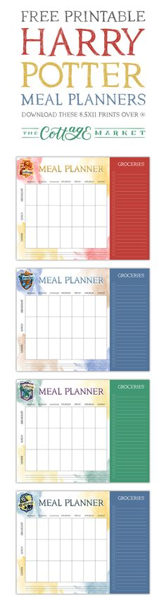 Free Printable Harry Potter Meal Planners