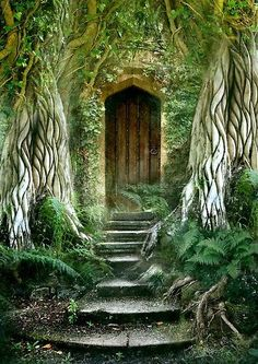 """The Secret Door by Angie Latham """"Inspired like a lot of my work, by the book The Secret Garden. I am facinated by the notion of secret doors which may lead to magical experiences or new adventures."""" I like both the art and her thoughts. Cool Doors, Unique Doors, Garden Gates, Garden Entrance, House Entrance, Doorway, Stairways, Windows And Doors, Porches"""