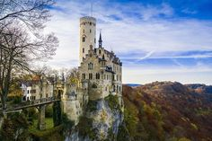Lichtenstein Castle is a castle situated on a cliff located near Honau on the Swabian Alb, Baden-Württemberg, Germany.  Historically, there has been a castle on the site since around 1200. It was twice destroyed, once in the Reichskrieg's War of 1311 and again by the city-state of Reutlingen in 1381. The castle was not reconstructed and subsequently fell to ruin.  In 1802, the land came into the hands of King Frederick I of Württemberg, who built a hunting lodge there. By 1837, the land had ...