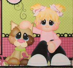 ELITE4U PMBY JULIE Child Girl premade scrapbook pages for album paper piecing