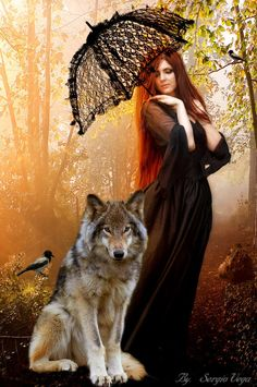 Wolves And Women, Wolf Pictures, Fantasy, Manga, Cute, Woman, Black, Beautiful, Gray Wolf