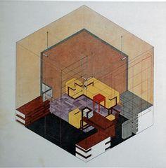 "Herbert Bayer's ""Isometric drawing of Walter Gropius's study in the Weimar Bauhaus,"""