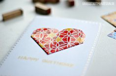 origami heart birthday card diy