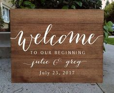 Wedding Food Rustic Wedding Sign - Welcome To Our Beginning Wedding Sign Wooden Board - This beautiful Welcome To Our Wedding Sign will look beautiful propped up on an easel at your wedding! It is all hand crafted and hand painted with acrylic paints. Wedding Name, Rustic Wedding Signs, Dream Wedding, Wedding Signage, Wedding Bells, Wedding Reception Food, Wedding Catering, Reception Ideas, Wedding Favors