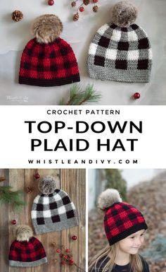 Crochet Fall, Plaid Crochet, Crochet Beanie, Knit Or Crochet, Cute Crochet, Crochet Stitches, Knitted Hats, Crochet Winter Hats, Modern Crochet Patterns