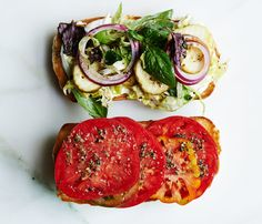 There's nothing wrong with a regular tomato-and-mayo sandwich, but this shredded lettuce and Italian vinaigrette masterpiece is worthy too. Italian Tomato Hoagie from Bon Appetit. Vegetarian Recipes, Cooking Recipes, Healthy Recipes, Vegetarian Sandwiches, Vegetarian Italian, Going Vegetarian, Vegetarian Breakfast, Spinach Recipes, Vegetarian Dinners