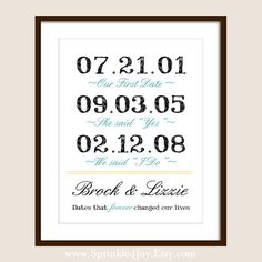 Important Dates Love Story Print for Unique Wedding, Bridal Showers, Anniversary Gifts:)