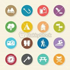 Camping and Outdoors Icons - Color Circle Series