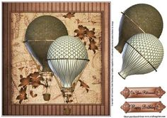 Masculine steampunk style hot air balloons on Craftsuprint designed by Julie Hutchings - Great Male steampunk style card topper with layer and sentiment tags Happy Birthday and On Your Retirement - Now available for download!