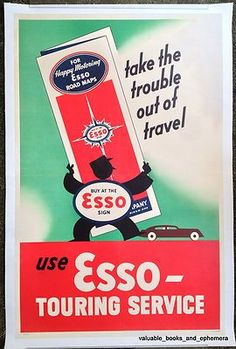 c1950 ESSO Touring Road Maps Cars Original Vintage Automobile Advertising Poster
