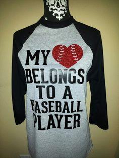 "My ""Heart"" Belongs to a Baseball Player raglan baseball shirt www.etsy.com/shop/TheEdgeDesigns"