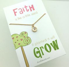 Mustard Seed Necklace carded - Faith is like a little seed if planted it will grow. The single tiny genuine real herb mustard seed is set-in several layers of clear non yellowing resin epoxy and encased in a gold frame circle charm that is 7mm diameter and about 3mm thick. Sparkling Gold chain is 14 - 15 adjustable Choose in a silver gift box or carded with a message!  Thank you for visiting my shop! We do our best to ship orders out within one business day. Order ship USPS first class mail…