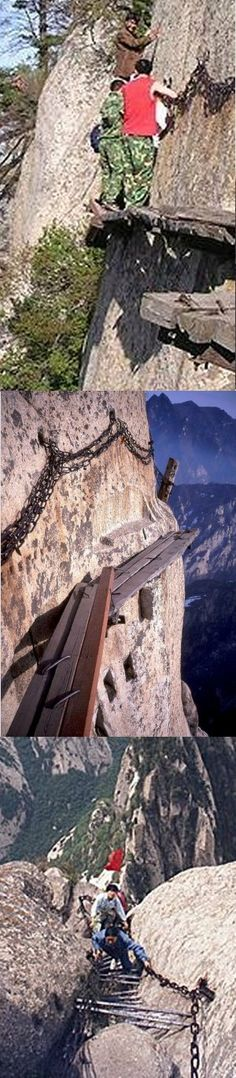"""Mt Huashan, China: Most dangerous hiking trail on earth?    """"When I first posted the pictures of Huashan in January 2007,  I believed it was the most dangerous trail I had ever seen.... since I first wrote this story, I have received several letters that suggest the Chinese have made significant improvements to this trail.     I certainly hope so because in its original state the Huashan Hiking Trail was definitely a Death Trap."""