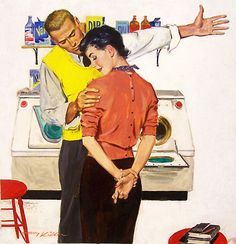 Ahhh, second comes marriage,, then comes laundry...Whatever he is berating her about, her response is tempered by the fact that she has her fingers crossed. Illustration by Harvey Kidder.