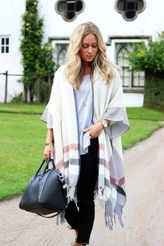 Stripe Blanket Poncho