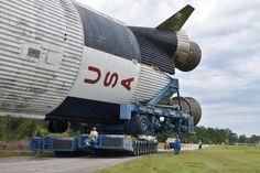 How Saturn V Rocket Booster Rolls Down a River