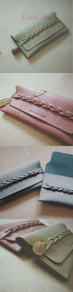 Handmade leather vintage braided women long wallet clutch phone purse wallet