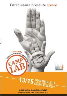 Camp Lab • Logo e manifesto dell'evento promosso dal Comune di Campi Bisenzio Firenze  • Sonia Squilloni Graphic Designer