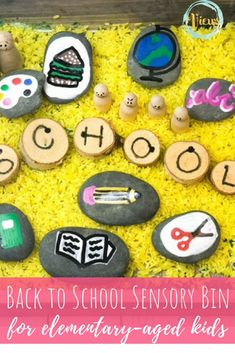 This school sensory bin has everything you need to get your child emotionally ready to go back to school. Including painted rocks and emotion characters. Fun Activities To Do, Autumn Activities, Projects For Kids, Diy For Kids, Rock Games, Stone Painting, Rock Painting, Train Up A Child, Sensory Bins