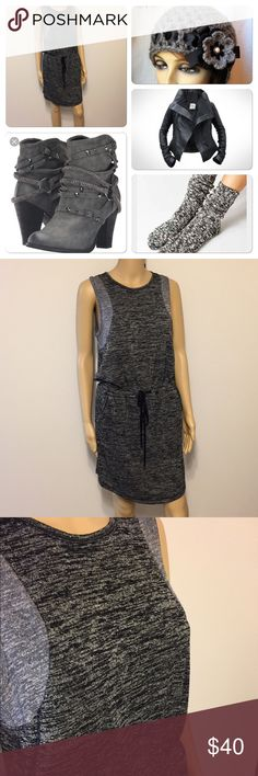 """Lou & Grey dress 2 toned grey Gathering waist with tie, side pockets, sleeveless. Armpit to armpit is 18"""" across, length is 46"""", 48% rayon, 48% polyester & 4% spandex Lou & Grey Dresses Midi"""