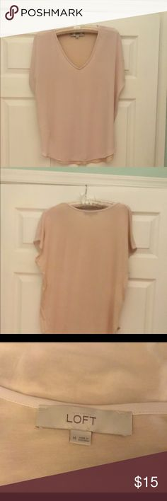 "Ann Taylor Loft Beige cap sleeve T size M 28"" from shoulder to hem. 100% rayon, machine wash, dry flat. Never worn. Ann Taylor Loft Tops Tees - Short Sleeve"