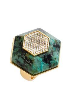 Rachel Zoe 'Ali' Stone & Crystal Hexagon Ring available at #Nordstrom