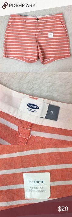 "Old Navy Striped Shorts Old Navy Shorts Orange/White Stripe Size 12 Waist approx: 36"" Inseam: 5"" 100% Cotton NWT Old Navy Shorts"