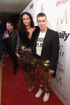 Rihanna and Jeremy Scott attend The Daily Front Row Fashion Awards at the Sunset Tower Hotel in West Hollywood, California.