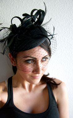 "$52 Black Felt Fascinator - ""Juliet"" Felt Round Sinamay Fascinator Hat with Black Feathers & Black Satin Ribbon Embellishments"