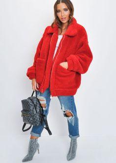 Oversized Zip Up Borg Teddy Trucker Jacket Red Teddy Bear Jacket, Teddy Coat, Borg Jacket, Gray Jacket, Pop Fashion, Coats For Women, Zip Ups, Winter Jackets, Sleeves