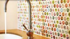 THE ART OF DRINKING BEER: Bottle Cap Art | Kitchen Backsplash