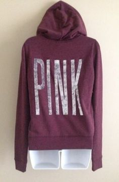 VICTORIA'S SECRET PINK NWT Fleece Bling Sequins Zip Hoodie Burgundy Size Small $69.95 Sold out in stores and online!