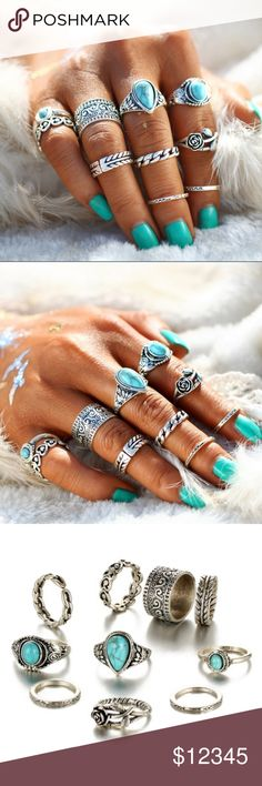 COMING SOON!!!!! Turquoise and silver 10 ring set Beautiful turquoise and silver ring set! LIKE this listing to be notified when item becomes in stock! ❤ Jewelry Rings