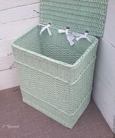Купить Короб плетеный Весенняя мята - мятный плетеный короб, короб плетеный в ванную