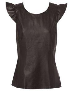 JAYSON BRUNSDON BLACK LABEL leather frill shoulder top